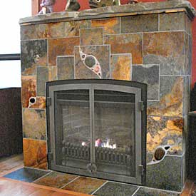 creative fireplace tiling by Jeff Honsinger