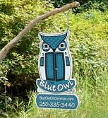 The Blue Owl sign - Denman Island Accommodation