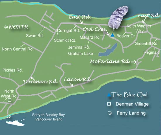 Map of Denman Island, BC showing Blue Owl Cottage for rent